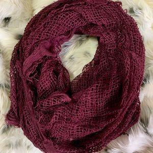 Distressed burgundy scarf